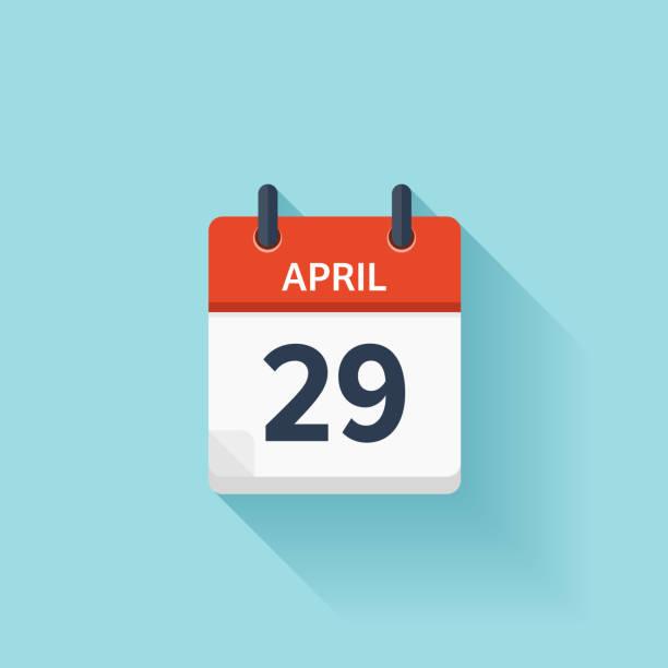 bildbanksillustrationer, clip art samt tecknat material och ikoner med april 29. vector flat daily calendar icon. date and time - 25 29 år