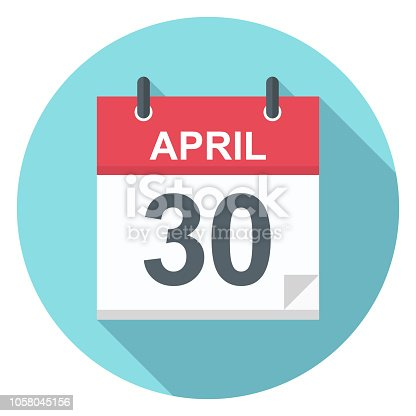 April 30 - Calendar Icon - Vector Illustration