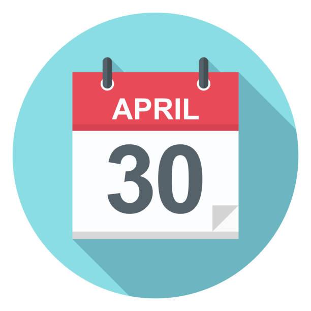 illustrations, cliparts, dessins animés et icônes de 30 avril - icône de calendrier - date écrite
