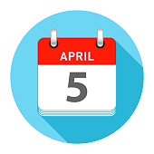 April 5 Date on a Single Day Calendar in Flat Style with long flat shadow on a blue background
