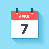 April 7. Calendar Icon with long shadow in a Flat Design style. Daily calendar isolated on blue background. Vector Illustration (EPS10, well layered and grouped). Easy to edit, manipulate, resize or colorize.