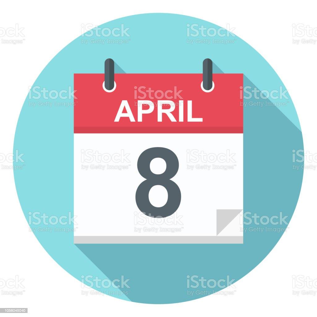 4 月 8 日 カレンダー アイコン ...