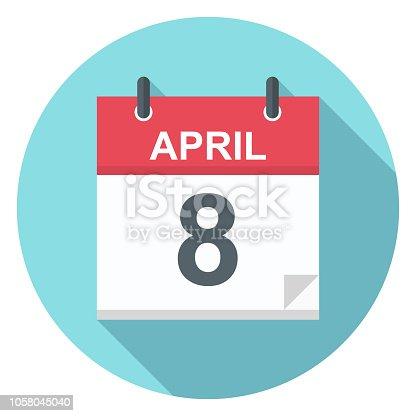 April 8 - Calendar Icon - Vector Illustration