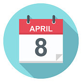 April 8 - Calendar Icon - Vector Illustration