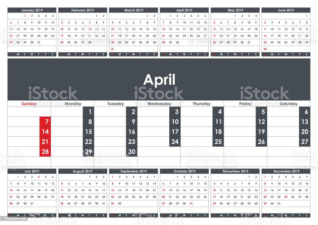 2019 の 4 月カレンダー プランナービジネス プランナーのテンプレート