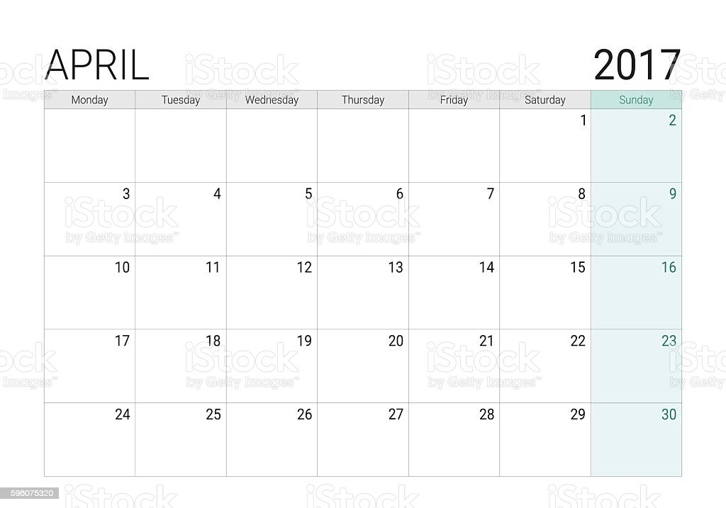 2017 April calendar (or desk planner) vector art illustration