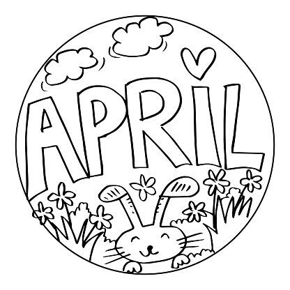 April Coloring Pages For Kids Stock Illustration Download Image Now Istock