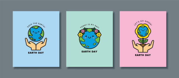 22 april - Earth Day icon set Set of Earth Day greeting card. Cute cartoon Earth icon or symbol. 22 april, Mother Earth Day flat vector illustration. Let's go green & save the Earth. earth day stock illustrations