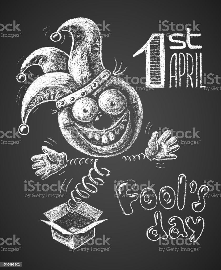 April Fool drawn on chalkboard vector art illustration