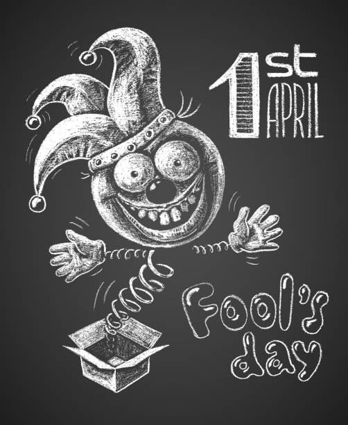 april fool drawn on chalkboard - april fools day stock illustrations