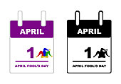April Fool's Day calendar isolated on white