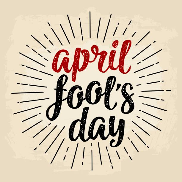 April fool's day calligraphic handwriting lettering. Vector black and red illustration vector art illustration