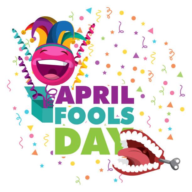 april fools day card vector art illustration