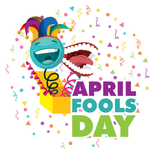 april fools day card april fools day - surprise emoticon with jester hat and teeth vector illustration april fools day stock illustrations