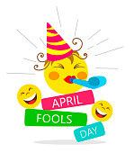 April fools day card with happy face emojis on white background.  Bright vector illustration