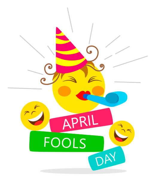 April fools day card with happy face emojis on white background.  Bright vector illustration April fools day card with happy face emojis on white background.  Bright vector illustration april fools day stock illustrations