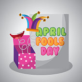 april fools day card with prank box jester hat vector illustration