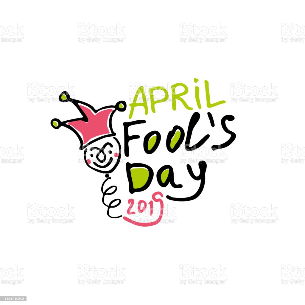 April Fools Day. Cartoon style graphics marker drawn logo with a jester on a spring. vector art illustration