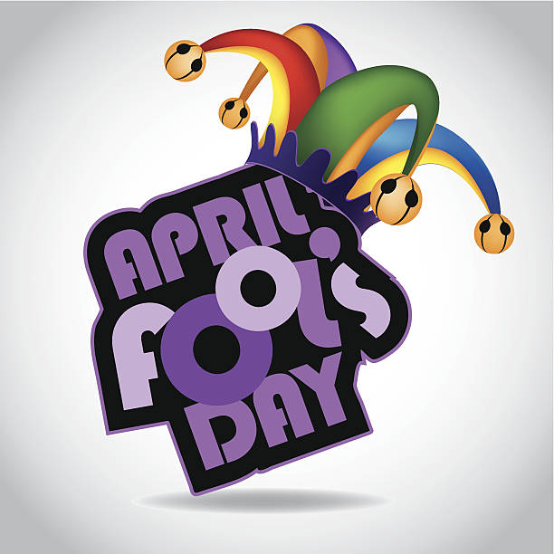 April Fool's Day design element with colored jester hat vector art illustration