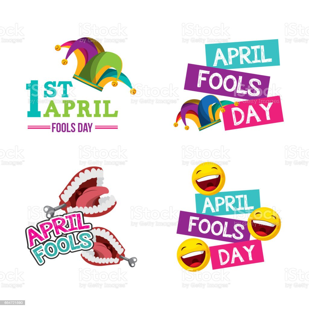 april fools day design vector art illustration