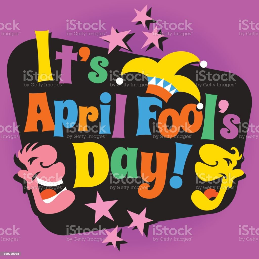 April Fool's Day design with funny letters, laughing cartoon faces and jester's hat. vector art illustration