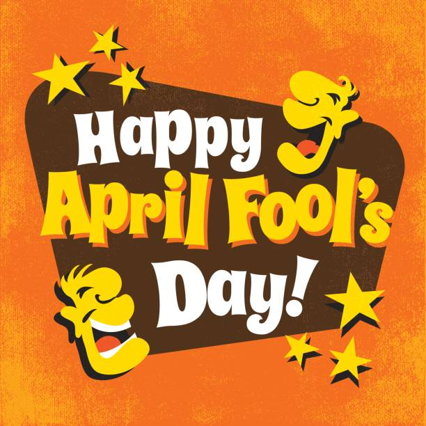 April Fool's Day design with funny letters, laughing cartoon faces and stars Happy April Fool's Day design with funny letters, laughing cartoon faces and stars april fools day stock illustrations