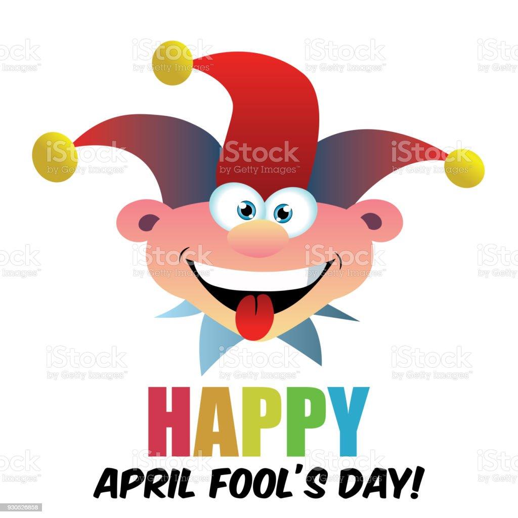 April Fools Day Dumb Happy Cartoon Joker Face Vector Stock