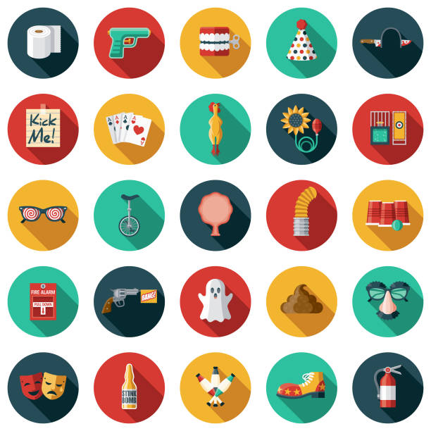 april fools day flat design icon set - papier toaletowy stock illustrations
