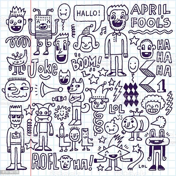 April fools day funny doodle set 2 vector illustration vector id516786126?b=1&k=6&m=516786126&s=612x612&h=roen3df9xxxtzrge5gtxovnruacsmwksktn9 8h6axi=