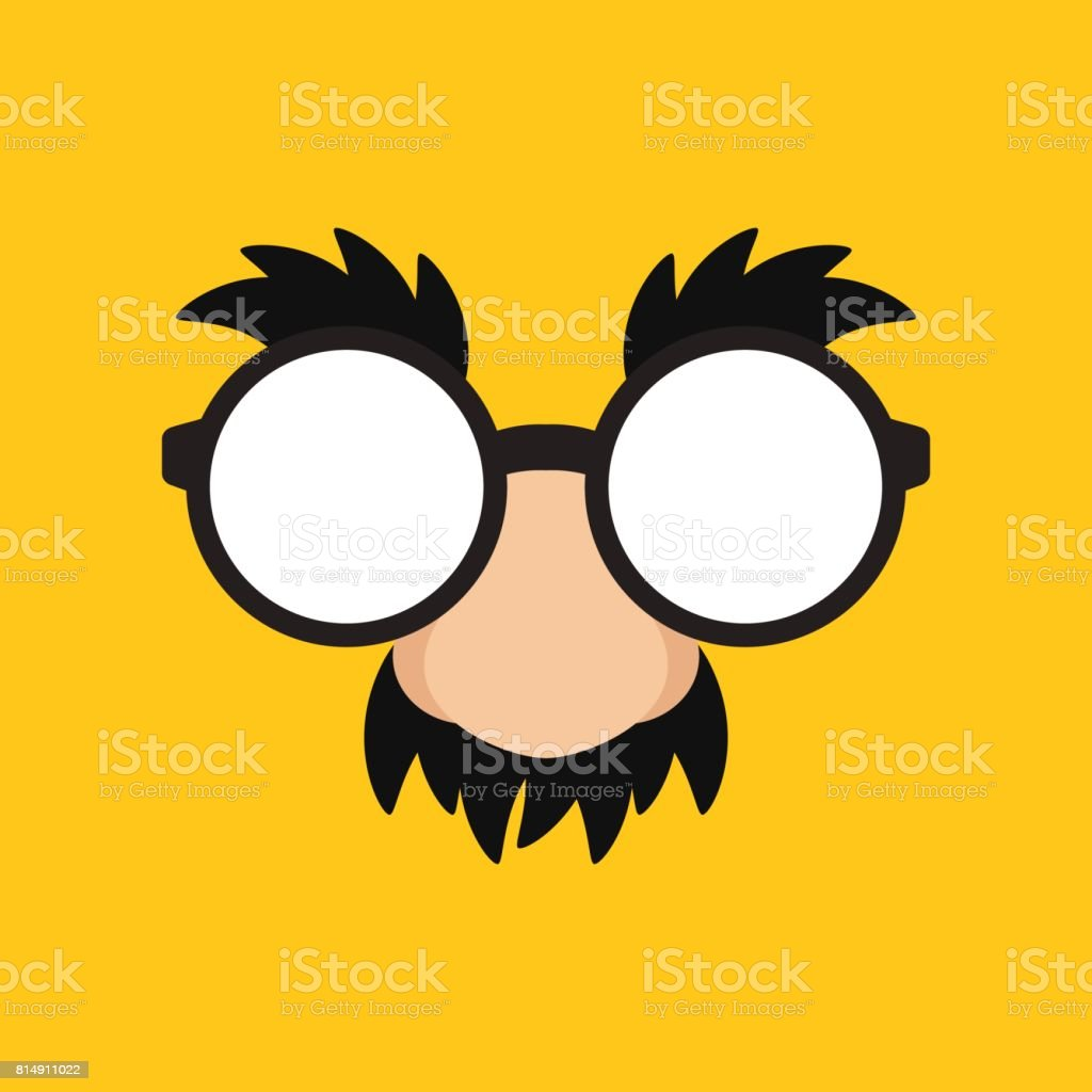 April Fools Day Funny Mask Glasses in Yellow Backgroun vector art illustration