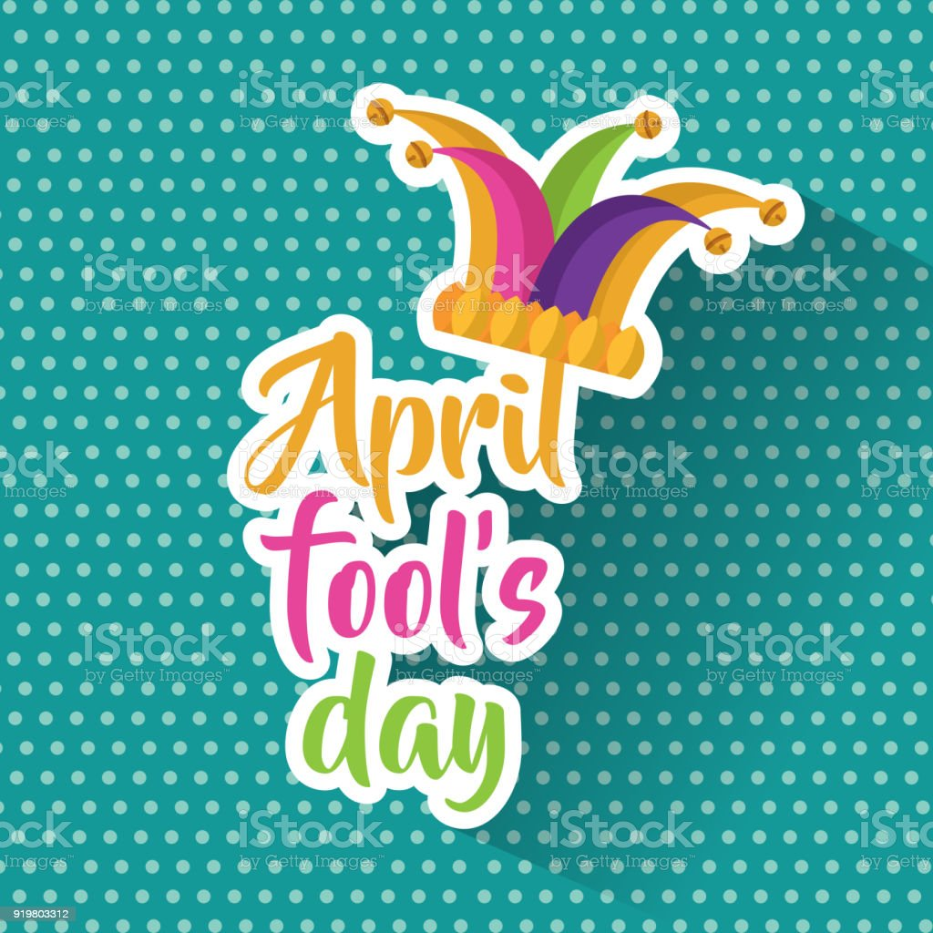 april fools day greeting card colored jester hat vector art illustration