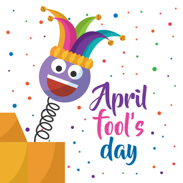 april fools day greeting card emoji smiling with hat and confetti vector art illustration