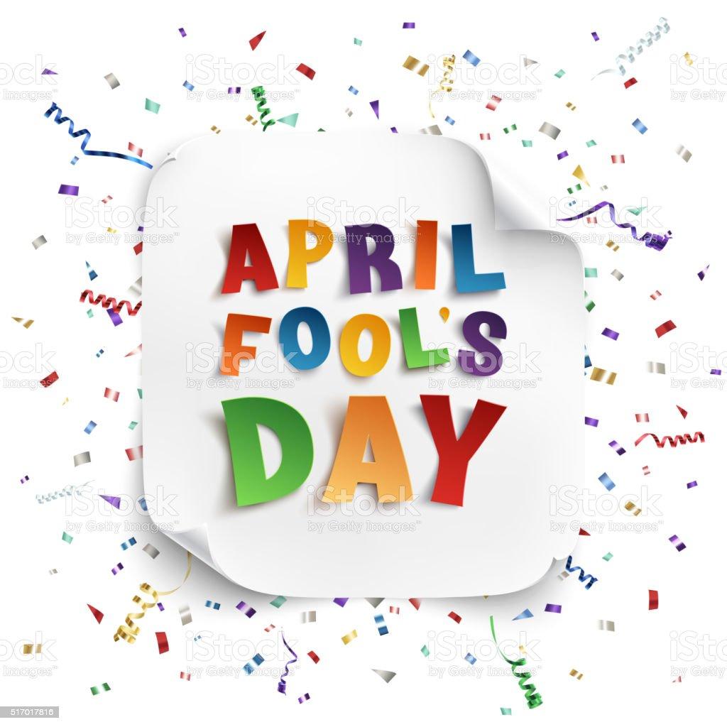 April Fools Day greeting card. vector art illustration