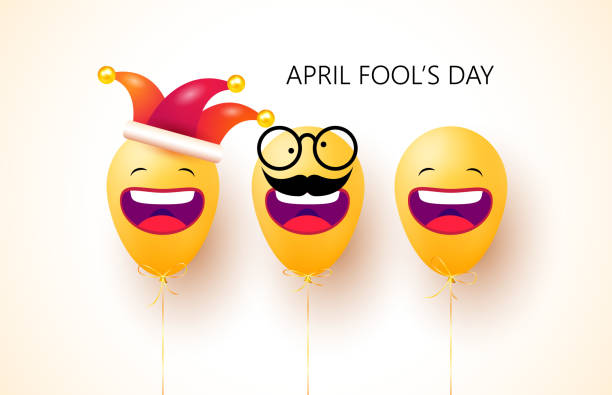 April fool's day. Happy face emoji balloons with jester hat and funny glasses. 1 April fools day. Celebration vector illustration for your design. Background design concept. Vector Illustration April fool's day. Happy face emoji balloons with jester hat and funny glasses. 1 April fools day. Celebration vector illustration for your design. Background design concept. Vector Illustration april fools day stock illustrations
