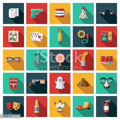 A set of twenty-five square flat design icons with long side shadows. File is built in the CMYK color space for optimal printing. Color swatches are global so it's easy to edit and change the colors.
