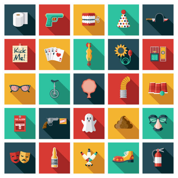 April Fools Day Icon Set A set of twenty-five square flat design icons with long side shadows. File is built in the CMYK color space for optimal printing. Color swatches are global so it's easy to edit and change the colors. april fools day stock illustrations