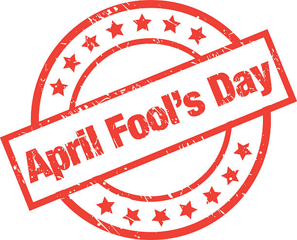 April Fool's Day Label vector art illustration