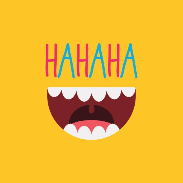april fool's day / laughing out loud mouth - radość stock illustrations