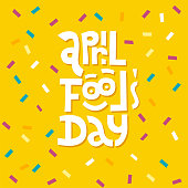 April Fools Day lettering typography on red background for greeting card, ad, promotion, poster, article,marketing, signage, email. Vector illustration.