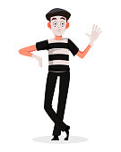 April Fool's Day. Mime cartoon character