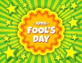 April Fool's Day pop art comic banner template. Vector funny postcard. Decorative swirl stripes background for april fool's holiday bright juicy colors. For posters, flyers, social media.