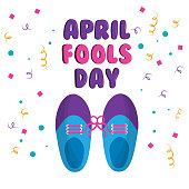 april fools day shoe with tied laces comic celebration vector illustration