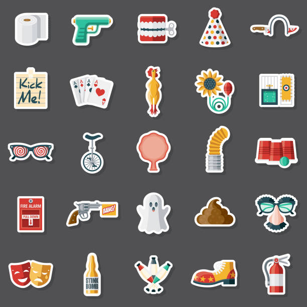 April Fools Day Sticker Set A set of flat design sticker icons. File is built in the CMYK color space for optimal printing. Color swatches are global so it's easy to edit and change the colors. april fools day stock illustrations