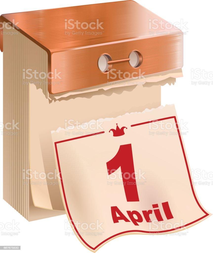 1 April Fools Day. Tear-off calendar sheet – Vektorgrafik