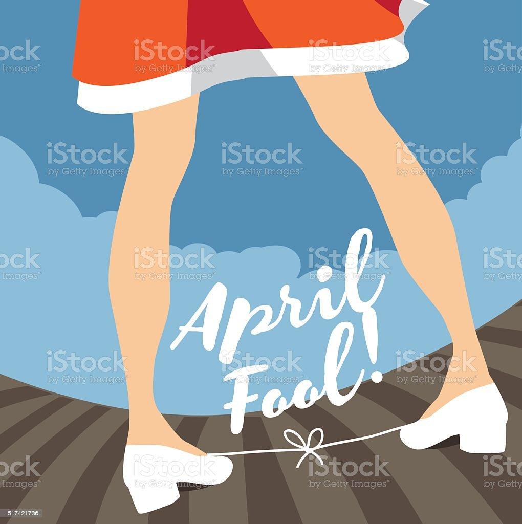 April Fool's Day tied shoelaces gag design. vector art illustration