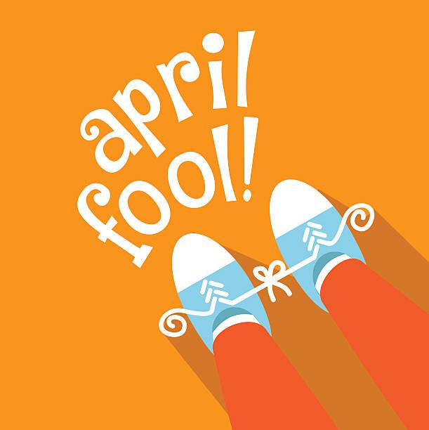 April Fools Day tied sneakers practical joke flat design vector art illustration