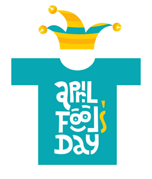 april fools day- t-shirt with hand drawn vector lettering with funny face and jester hat.Unique first april day slogan stylized typography. Funny quote for party, social media, gift. Flat illustration april fools day- t-shirt with hand drawn vector lettering with funny face and jester hat.Unique first april day slogan stylized typography. Funny quote for party,social media, gift. Flat illustration april fools day stock illustrations