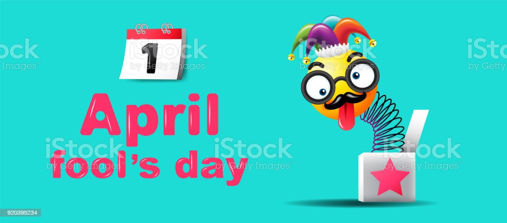 april fools day typography colorful design template vector illustration royalty free