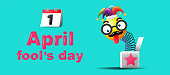 April fool's day, Typography, Colorful design template , vector illustration.