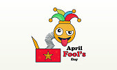 april fool's day, Typography, Colorful, flat design stock illustration